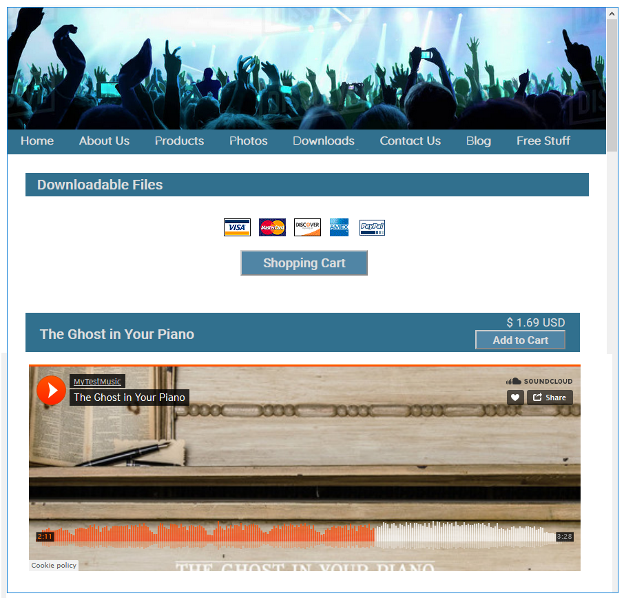 soundcloud embed on site page