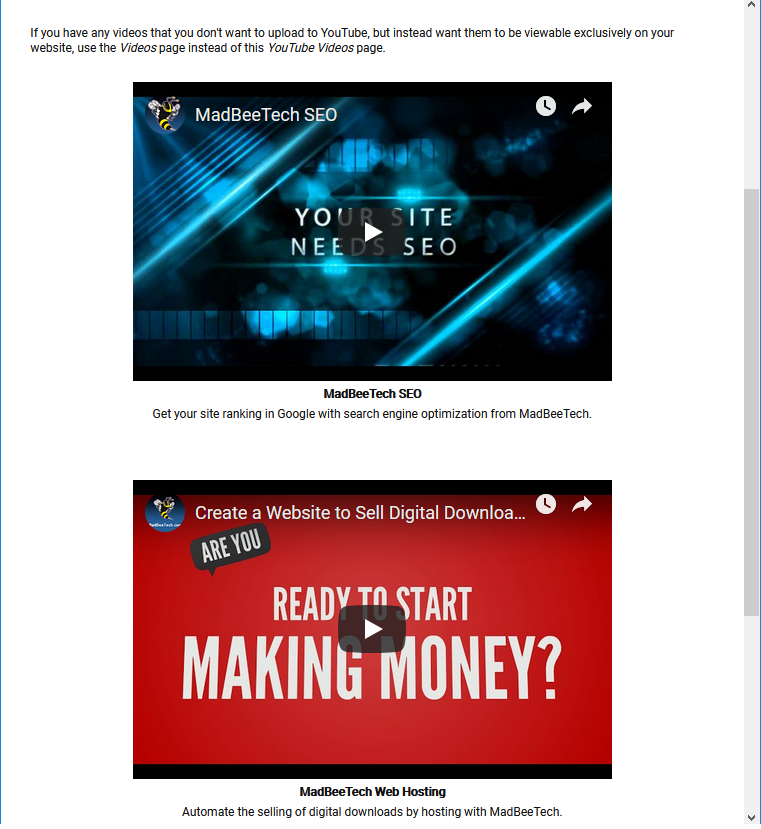 youtube videos predefined site page