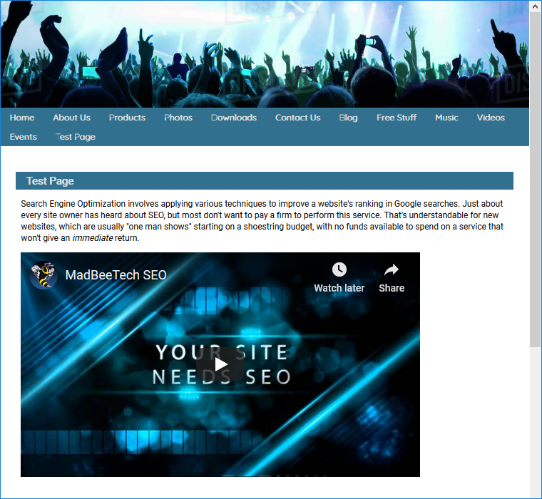 embedded video on site page
